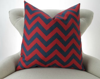 Navy/Red Throw Pillow Cover -up to 28x28 inch- Euro Sham, Cushion Cover, Big Pillow, Zigzag Geometric, Nautical Decor, Premier Prints