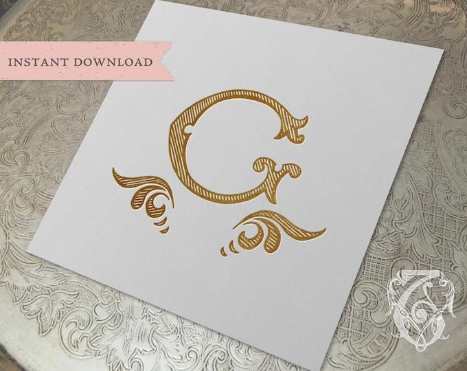 Vintage Wedding Initial Crest G Digital Download