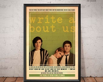The Perks of Being a Wallflower Poster - Quote Retro Movie Poster - Movie Print, Film Poster, Wall Art