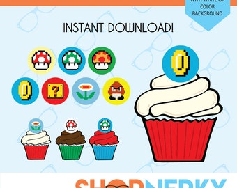 Super Mario Themed 8-bit Cupcake Toppers  |  Instant Download