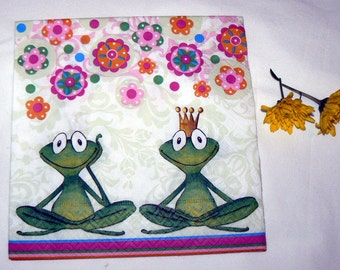 2 Napkins  from Holland frogs yoga