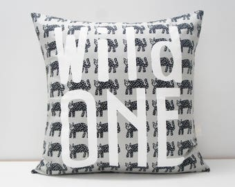 Pillow Cover - WILD ONE Pillow Cover, 20x20, Grey and black cats, monochrome