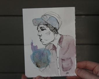 Hip Boy Watercolor Print