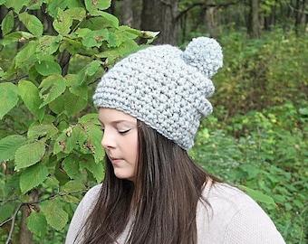 Grey Pom Pom Hat, Grey Slouchy Hat, Grey Slouchy Beanie, Grey Beanie, Grey Winter Hat, Grey Crochet Hat, Grey Women's Hat, THE HUDSON
