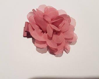 Hair clip for girl - chiffon flower - old Rose
