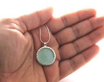 925 Silver Aqua Roman Glass Pendant Necklace