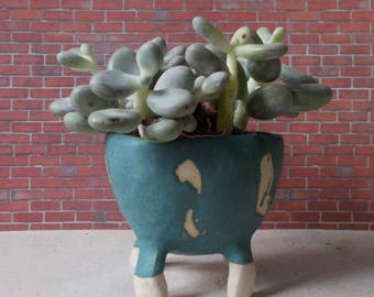 Pot en céramique 4 pieds émeraude