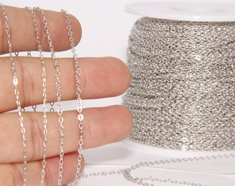 33 Feet Silver Tone Soldered Chain 1,5x 2mm, Cable Chain 10Meters