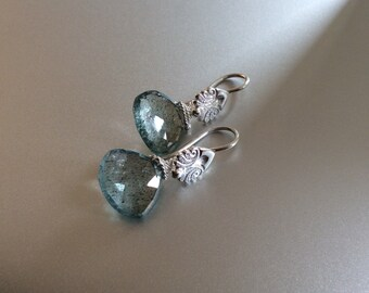 Sterling Silver And Moss Aquamarine Earrings