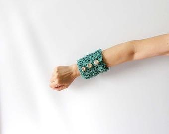 Teal Wrist Cuff Bracelet