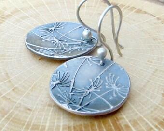Large Dandelion Earrings Fine Silver Earrings Disc Earrings Floral Jewelry PMC Jewelry Gifts for Her