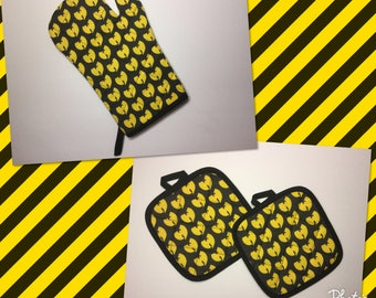 Wu-tang clan Kitchen Oven Mitt and Pot Holders gift set   *Ready to Ship