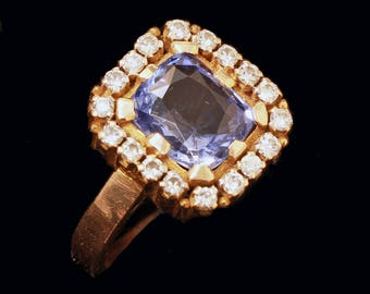 Vintage Ring Sapphire Diamonds Gold Man or Woman Royal Collection India (#6439)
