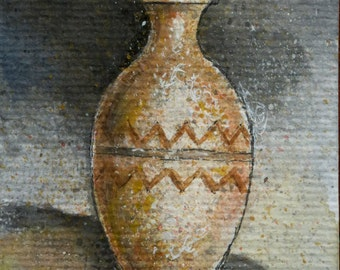 ACEO original - watercolor painted ceramic pots - OOAK