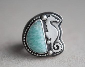 size 9.5 - mermaid seahorse ring. natural aqua amazonite gemstone. antique sterling silver. artisan jewelry