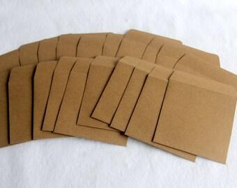 20 Kraft 3.25 x 3.25 Mini Envelopes - 83mm x 83 mm - CustomEdgeCards