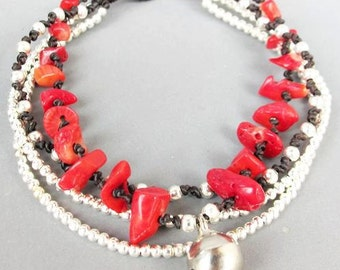 Multi Strand Red Coral and Silver Color Bead Bracelet