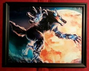 Werewolf Wolfman Wolf Dog Warrior Fantasy Framed Art Print Gift Present