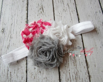 Gray, Hot Pink, & White Chevron Headband -  Photo Prop - Newborn Infant Baby Toddler Girls Adult