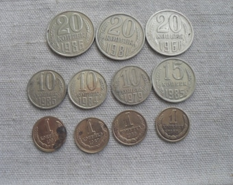 Old coin collection Vintage Coins Set old Soviet coins  20 kopeks 15 kopeks 10 kopeks 1 kopeks