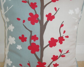 "16x16 Pillow Cover 16"" Raspberry Red Duck Egg Blue Cream and White Decorative Pillow Cushion Slip Sham Case Pillowcase Blomma Scandinavian"
