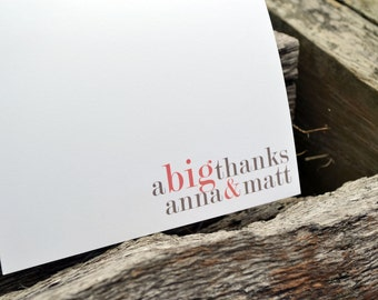 Wedding Thank You Cards / Thank You Cards - Couples Stationery Big Thanks Personalized Notes
