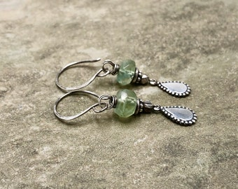 Botanica - Prehnite and Sterling Silver Earrings