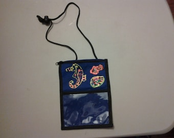 Little Blue Decorated Pouch