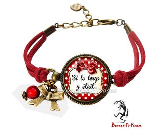 Bracelet () if the Wolf was ° little Red Riding Hood red jewel dots fancy glass thread
