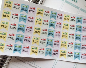 Run Stickers Exercise Stickers Perfect for Erin Condren Life Planner Filofax Kikkik Plum Paper Planner & Other Planners