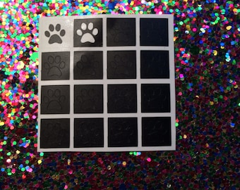 16 dog paw decals/stencils for nail art. Available in 20 colours including holographic, Nail decals, nail stickers, nail vinyls, pet, animal