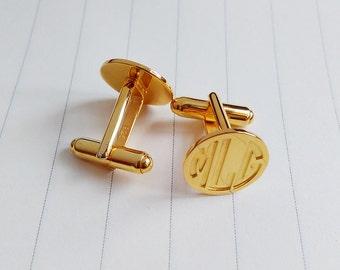 Gold Wedding Cufflinks,Gold Men CuffLinks,Groom Wedding Gift,Personalized Cufflinks,Engraved Monogram CuffLinks,Gift for Fathers Day