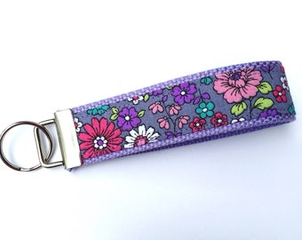 Purple Floral Key Fob Wristlet, Floral Keychain, Keychain for Mom, Gift for Her, Friend Gift, Gifts Under 10
