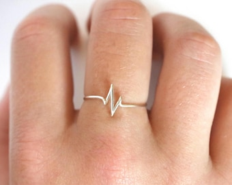 Minimalist Sterling Silver Heartbeat Ring / Minimalist ring/ Heartbeat Ring/ Sterling Silver / Stackable Ring