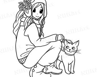 INSTANT DOWNLOAD Digital Digi Stamps, girl Stamps, Girl with cat Digi Stamps, pretty girl, cupcakes By NilitArt IMG 106