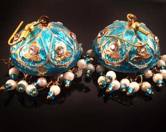 Turquoise Earrings,Jaipur Jhumka earrings,Lac Gold jhumkas,Crystal Earrings,Vintage Jewelry by Taneesi YJ130T