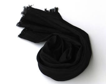 black pure linen scarf for women and men
