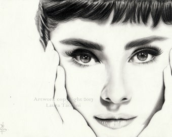 Ritratto di Audrey Hepburn - Stampa d'arte firmata da disegno originale in grafite