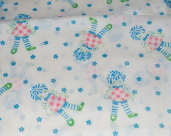 "Rag Doll Raggedy Ann Fabric Blue Pink Green White Flowers 2+ Yards 45"" x 80"""
