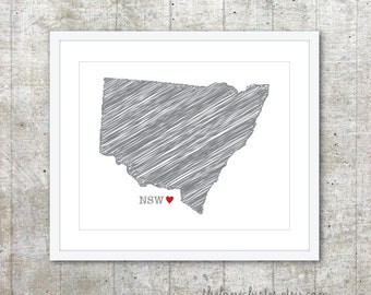 State of New South Wales  - Custom Australian State Love Poster - Slate Grey Red Heart - Australia Modern Wall Art