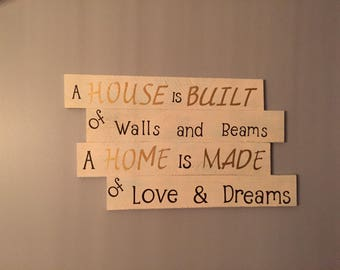 A house is built with walls and beams a home is built with love and dreams