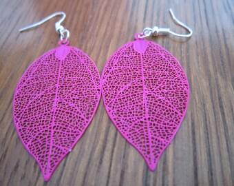 Neon pink leaf earrings