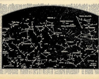 Vintage Book Print - Outer Space Print - Constellations Night Sky Art - Altered Book Art Print - Recycled Dictionary Print