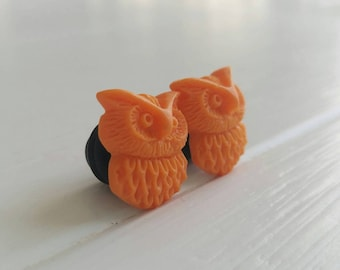 Orange Owl Plugs for Gauged Ears Sizes 00g, 0G, 2G, 4G , 6G, 4mm, 5mm, 6mm, 8mm, 10mm, Also Available for Pierced Ears