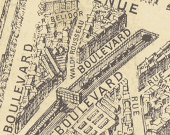 Paris Map Fabric, City Map Paris, Street Map Paris - Destination Paris by Whistler Studio for Windham 42494 Cream - Priced by the half yard