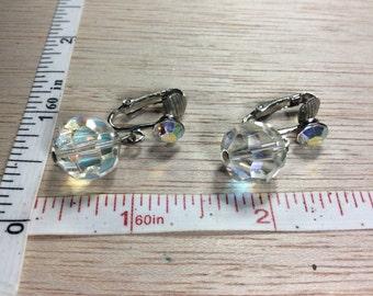 Vintage Silver Toned Aurora Borealis Bead Rhinestone Clip On Earrings Used