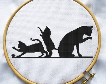 Counted cross stitch pattern, Instant Download, Free shipping, Cross-Stitch PDF, Cute black cat with kitten