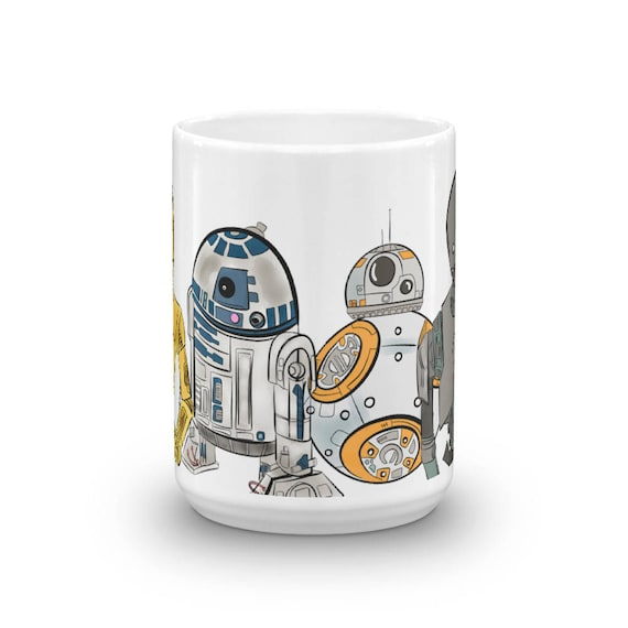 Star wars and rogue one droids c 3po r2 d2 bb 8 and k 2so coffee mug