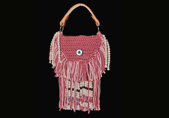 Top Handle, Handbag, Boho Chic, Hippy Bag, Bohemian,  Rose and Pink, Hand Tooled Leather, Leather Interior, Fringe and Beaded
