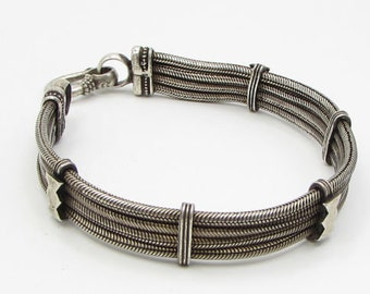 925 sterling silver - industrial braided stacked 10mm bracelet -  b1152